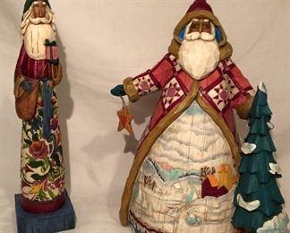 """Jim Shore:  """"The Joy of Giving"""" Pencil Santa(11""""H). 3117650 2004 """"Dashing Through the Snow"""" 2003 #B112237"""