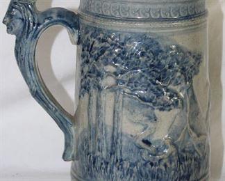 """Reverse Side of Mug: Blue and White """"Ole Sleepy Eye"""" Indian Chief Stoneware Stein"""