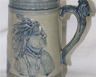 "Blue and White ""Ole Sleepy Eye"" Indian Chief Stoneware Stein"