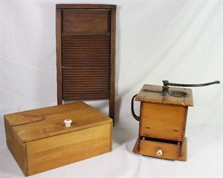 Antique National All Wood Small Washboard.  Table Top Storage Box with Porcelain Pull. Antique Primitive Wooden Hand Crank Coffee Grinder Mill 1880's