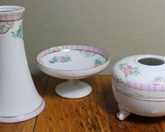 Nippon Hand Painted  Pink Roses Dresser Set: Hat Pin Holder. Pedestal Cache Dish and Footed Hair Receiver