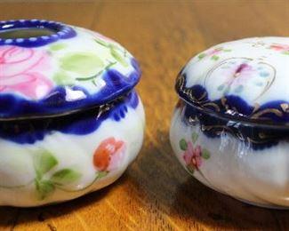 Nippon Hand Painted Cobalt Trim Antique Hair Receiver and Porcelain Cobalt Trim Powder/Trinket Box