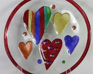 "Silverstein-Demdaco ""Hearts"" Art Glass 11"" Plate"
