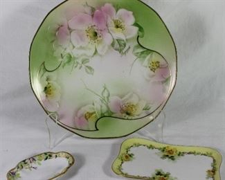 """Royal  Rudolstadt Prussia Hand Painted Plate,  Nippon Morimura Hand Painted Mini Dish, Limoges France Trinket Tray (5.5"""" x 3.5"""")"""