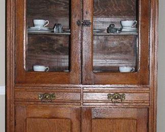 "Antique Oak 4 Door (2 Upper Glass) Kitchen Cupboard w/ 2 Drawers  (37""W x 17""D x 73""H)"