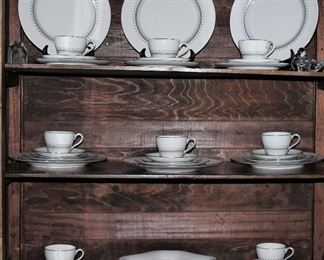"""Cabinet shown with: Spode """"Fairfax"""" (1962-1972):  5 Piece Place Setting Service for 8 and a Square Vegetable Bowl"""