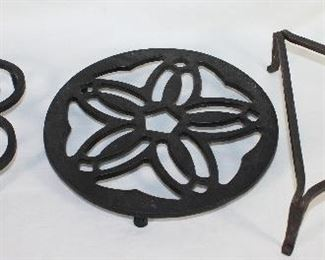 """Wrought Iron Vintage 7"""" Footed Heart Trivet          Vintage 8"""" Round Flower Footed Trivet.                      Antique Hand Forged Wrought Iron 8"""" Triangle Footed Trivet"""