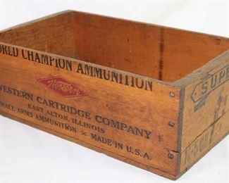 Western Cartridge Company World Champion Wooden Ammunition Box