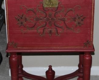 Gold Embossed Scroll Design Red Lift Top File Cabinet with Turned Legs and Cross Stretchers with Center Finial