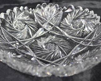 "Brilliant Cut Crystal Pinwheel Star Pattern Bon Bon Dish (6"")"