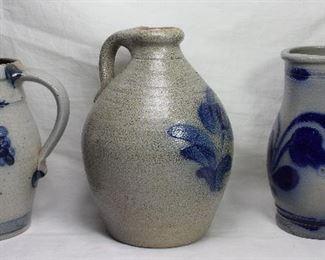 "Blue Slip Decorated Salt Glaze Gray Stoneware: Grape Design Pitcher (6 1/2""H), Rowe Pottery Works Jug (71/2""H x 5 1/2""D).Floral Decorate Pitcher (6 3/4"")"