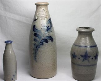 """Rowe Pottery Works Blue Slip Decorated Gray Stoneware Bottles:  4 1/2"""" Miniature,  8 1/2"""" 1990 & Star Decorated 1997 (6"""")"""