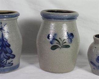 """Blue Slip Decorated Gray Stoneware:  Christmas Tree.  (6 1/2"""" x 4 3/4""""),  Clovers (6 3/4"""" x 4 3/4"""") and Flower Decorated 4"""" Jar"""