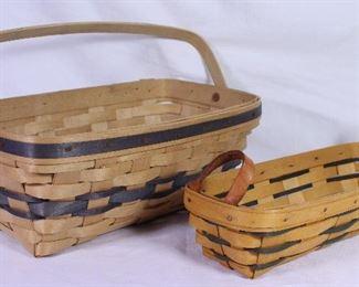 """Longaberger Vintage Basket Rectangle Swing/Bail Side Handle  1985.  Rectangular (11.5"""") 1998 Bread Basket"""