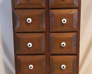 """Vintage Wood 9 Drawer Spice Cabinet with Porcelain Drawer Pulls (14.5""""W x 8.5""""D x 24.5""""H)"""