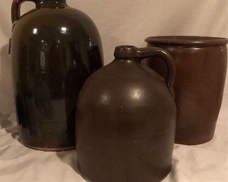 """Antique Brown Salt Glaze Pottery: 2 Gallon Jug (14""""H x  7""""D).  BeeHive"""
