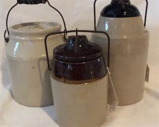 """Vintage Kitchen Crock with Bail Handle, """"The Weir"""" Patented March 1, 1892 Large Crock Jar with Amber Glass Lid and """"The Weir"""" Caning Jar with Wire Clamp Crock Lid."""