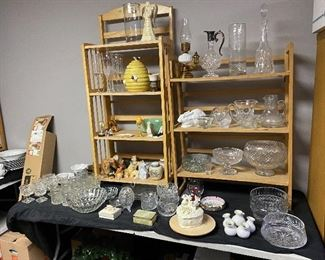 Crystal bowls (one Waterford in cursive script so not sure it is real), covered rabbit dish by Imperial Glass, crystal ewer and decanter, beehive cookie jar, dog figures, lots of misc.
