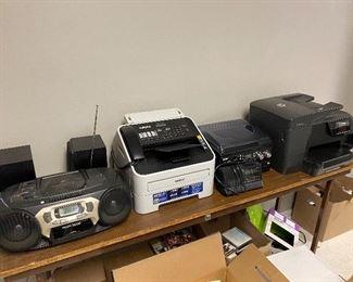 electronics incl. copier, boom box, radio, speakers, fax,