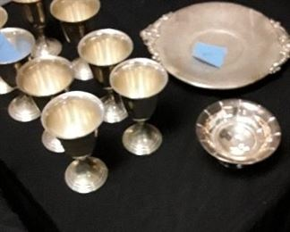Consignment sterling large tray, small compote and set of 8 goblets NOT BEING SOLD FOR SCRAP