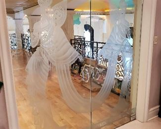 Pair of etched glass doors