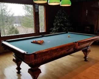 Inlaid slate full size pool table