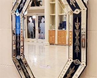 Large blue Venetian style mirror