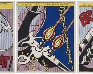 "1002 After Roy Lichtenstein 1923-1997, American As I Opened Fire (Triptych), 1966 Each: Color offset lithograph on wove paper, from the edition of unknown size, Stedelijk Museum, Amsterdam, pub., the complete set, with full margins Each: Wet stamped for Roy Lichtenstein and the Stedelijk Museum verso Each: Sheet: 25.125"" H x 20.875"" W; Image: 24"" H x 19.5"" W Estimate: $800 - $1,200"
