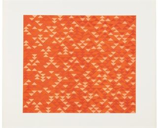 "1001 Anni Albers 1899-1994, American ""TR I,"" 1969 Color lithograph on Arjomari paper under Plexiglas, Gemini G.E.L., Los Angeles, CA pub./prntr., with full margins Edition 43/44, signed and dated in pencil lower right: Anni Albers / 69, blindstamped for Gemini G.E.L. and the copyright symbol, titled and numbered in pencil lower left, stamped for Gemini G.E.L. and numbered verso: AA68-215 Sheet: 19.75"" H x 21.75"" W; Image: 14"" H x 16"" W Estimate: $3,000 - $5,000"