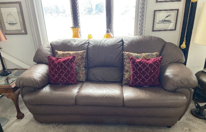 Mocha Leather Sofa 1 of 2 matching