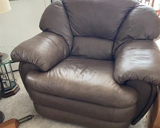 over stuffed matching leather chair