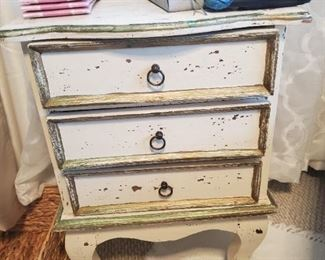 Rustic shabby chic two drawer night stand