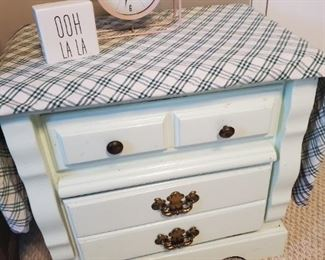 Painted two drawer night stand