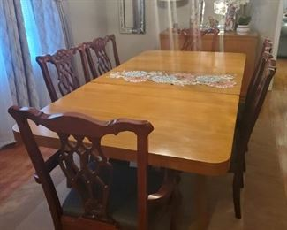 Large dining Scandinavia mid-century dining table, vintage chairs, set if 6 sold separately
