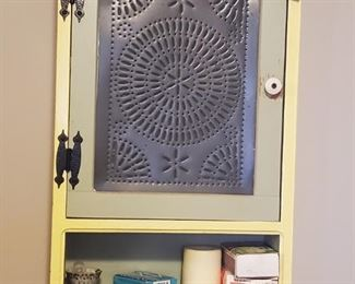 Farmhouse punched tin door wall cabinet