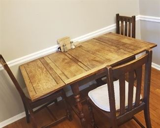 Vintage Farmhouse Table and Three Chairs