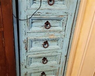 Unique distressed aqua multi-drawer and side opening doors for necklaces, jewelry hutch.