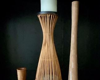 Handmade wood candle holders and wicker candle holder.