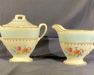 Eggshell Georgian Homer Laughlin sugar bowl and creamer