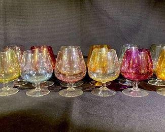 Rare vintage miniature opaque colored Cognac Brandy Shoot Glasses