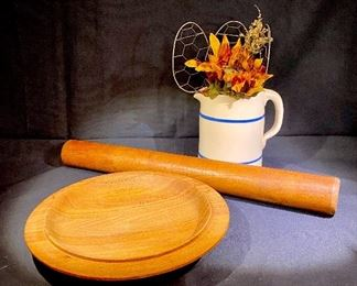 Handmade bowl and rolling pins.