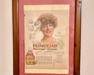 Vintage Pompelan Message Cream AD with wood frame