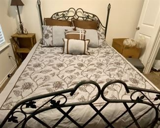Brown and light blue Queen comforter and matching pillows