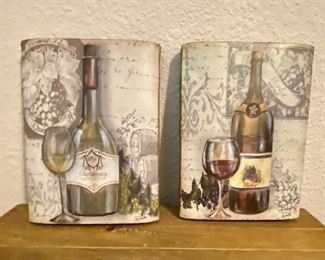 Thick wood slab pictures with wine and wine glasses on them