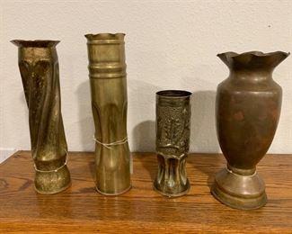 World War I Trench Artillery Brass Shell Casing Vases