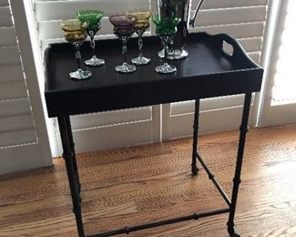 Iron tray table perfect for vintage cocktail shaker & stemware