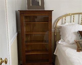 antique oak glass front display cabinet