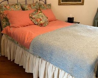 sleep number queen mattress, custom floral bedding on queen Brass Beds of Virginia wrought iron bed