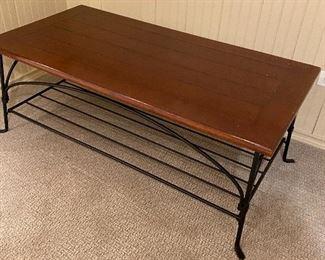 iron and wood slat coffee table