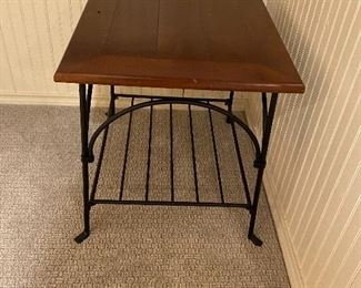 iron and wood slat end table